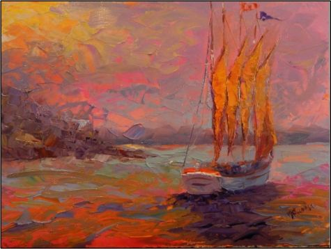 Morning Tryst-Bar Harbor -16x12 , oil on board by Maryanne Jacobsen, schooner, Maine seascapes, painting by artist Maryanne Jacobsen