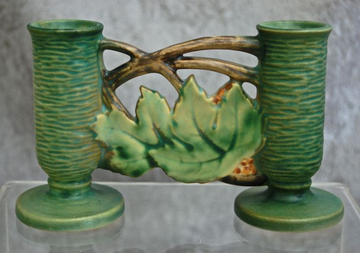 "Hard to Find Roseville Pottery Bushberry Gate #158-4.5"", Green, Ca. 1941 from The Devil Duck Collection on Ruby Lane"