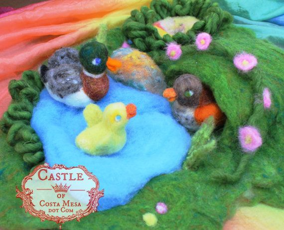Birthday Duck Family. Waldorf Mini Needle-Felted Playscape by Castle of Costa Mesa