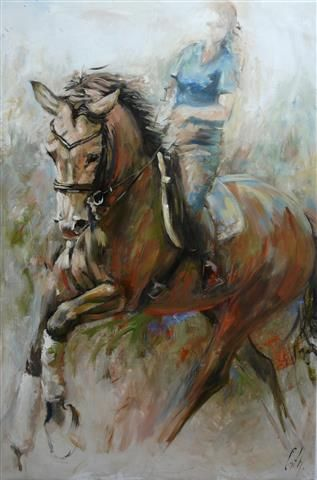 "HORSES Oil painting by Cath Driessen ""Elan 3"" 80 x 120 http://www.cathdriessen.nl/ https://www.facebook.com/pages/Cath/447137662037857"