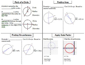 Perfect for Pi Day!! Foldable highlights the following skills: Parts of a Circle Finding Area Finding Circumference Applying Scale Factor (great practice for multi-step questions on state assessments)