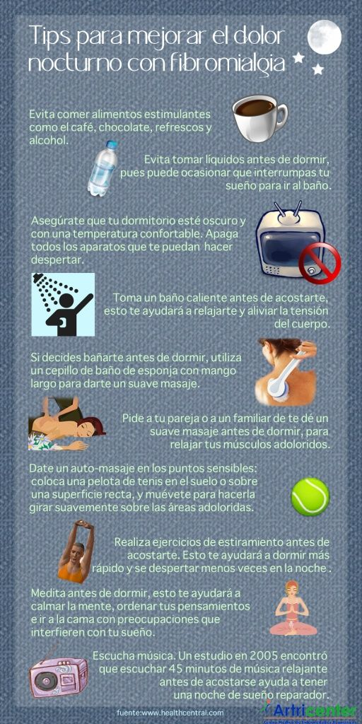 10 tips para tratar el dolor nocturno de la fibromialgia. #fibromialgia #remedios #infografía