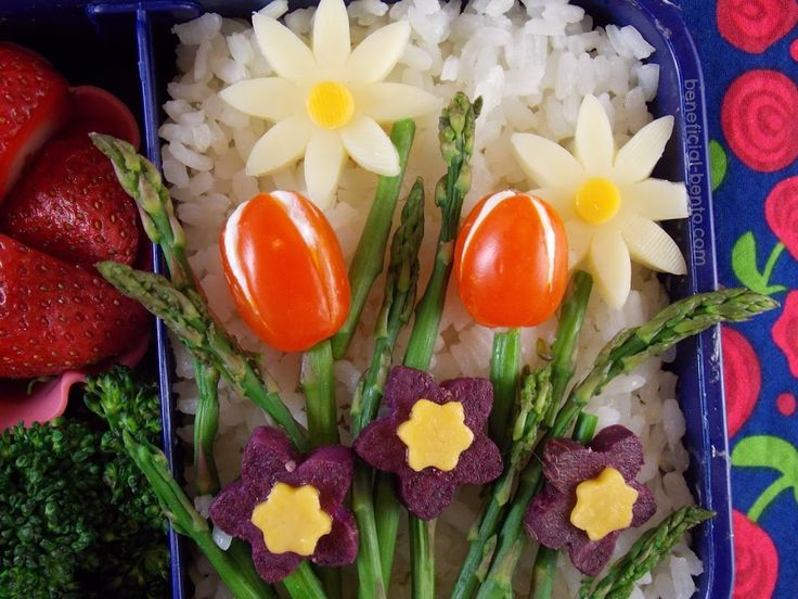 Lately I've been excited for the warmer weather, green grass, and especially the beautiful spring flowers! Unfortunately, spring in the Utah mountains is very unpredictable – we woke up to snow today. Well, I'll have my spring flowers one way or another, even if I have to eat them for lunch! Today's lunch contains rice, …