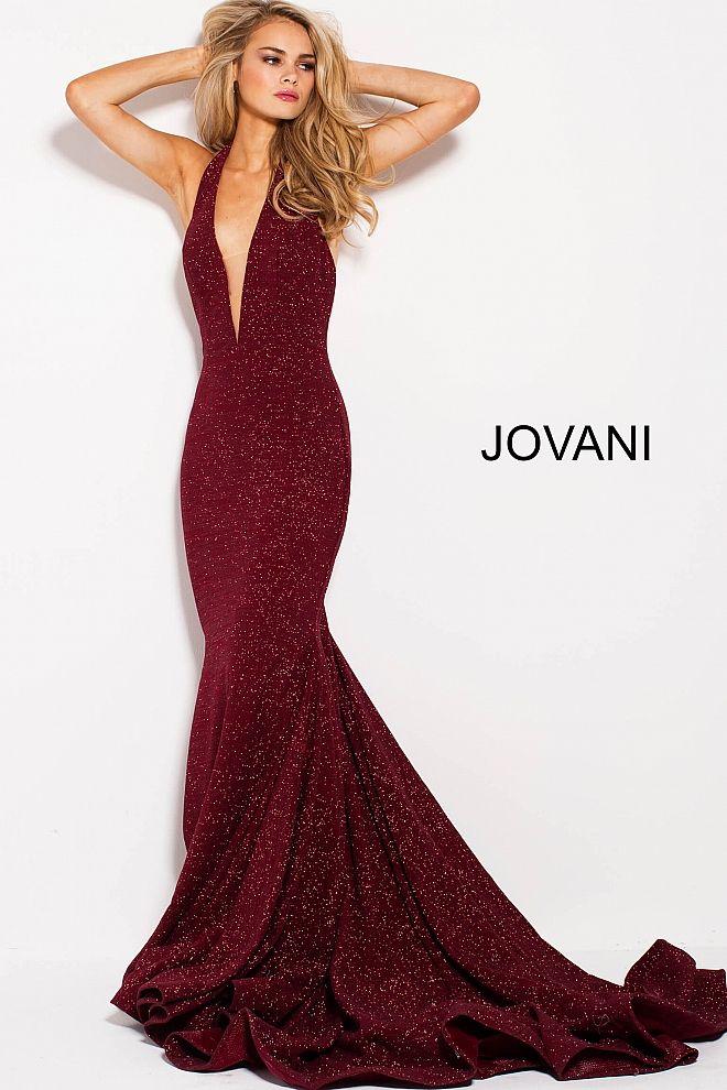 a214b3673cad Wine Glitter Halter Plunging Neck Prom Dress 55414 in 2019   Jovani ...