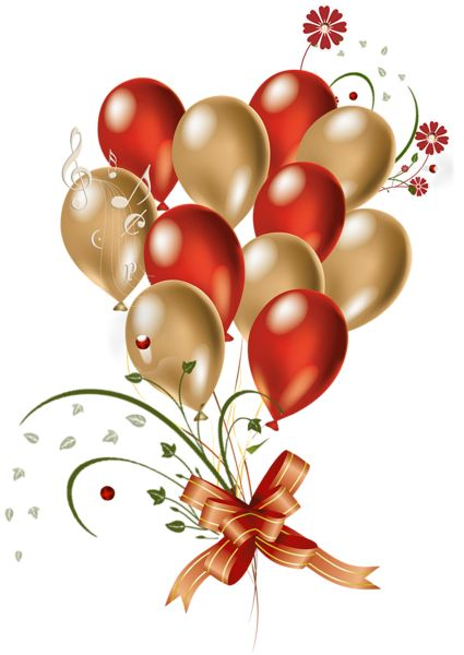 Transparent Red and Gold Balloons Clipart