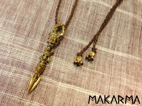 Azteekse Maya ketting messing hanger TRIBAL mannen ketting verstelbare lengte Macrame ketting Indiaanse mannen sieraden Maya symbool cadeau