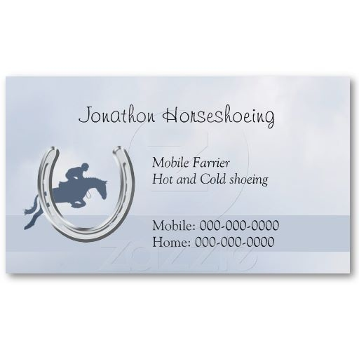 86 best rural business cards images on pinterest carte de visite farrier business card a horse jumping through a horseshoe on a blue background price colourmoves