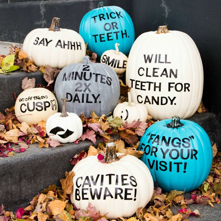 "CAVITIES BEWARE: You're not welcome at THIS dental office! Visit our blog for the DIY on how to make ""pun-kins."""