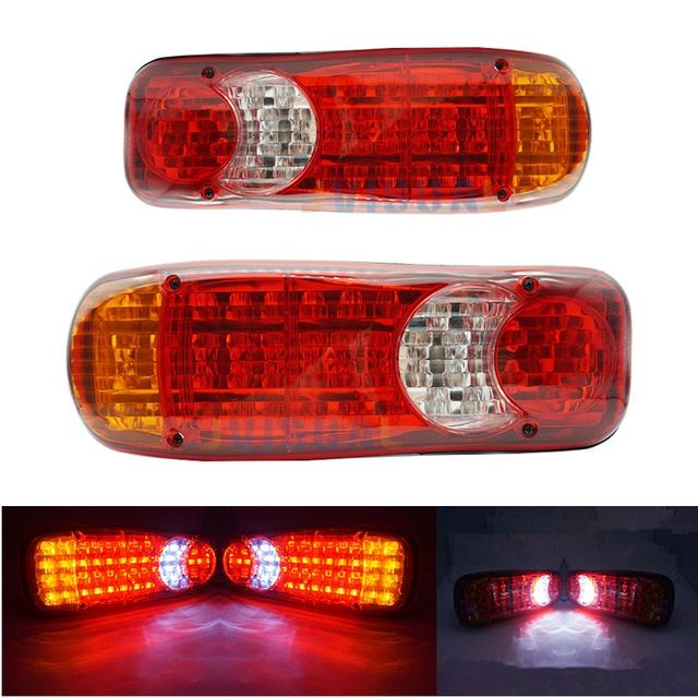 2 Pcs Waterproof 12v 24 Truck Led Tail Light Rear Lamp Stop Reverse Safety Indicator Fog Lights For Trailer Truck Car Taillights Review Tail Light Car