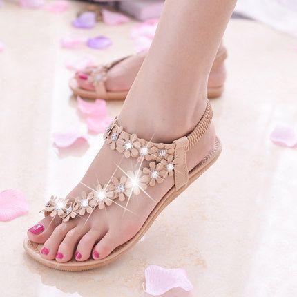 Чешский сандалии обувь новые летние цветы римские щепотка клип ног плоские туфли с случайные студент -tmall.com Lynx