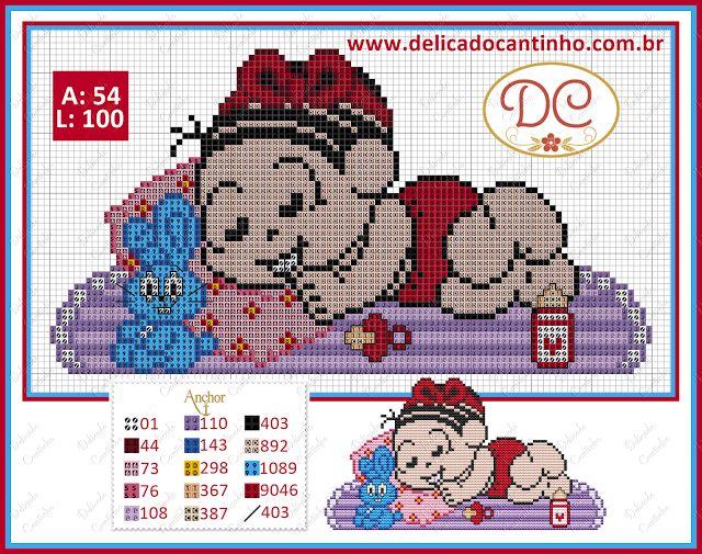 Delicado Cantinho: Gráfico Ponto Cruz Mônica Baby no Tapetinho