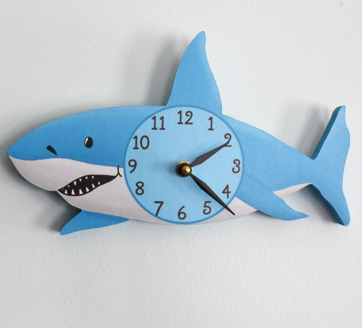 Shark wooden wall clock for kids bedroom baby nursery for Wall clock images for kids