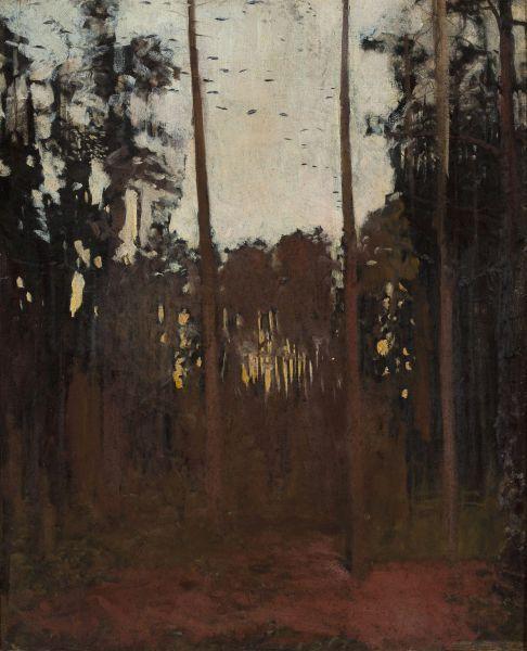 Głuszec, szkic do Polowania na głuszce - Józef Chełmoński