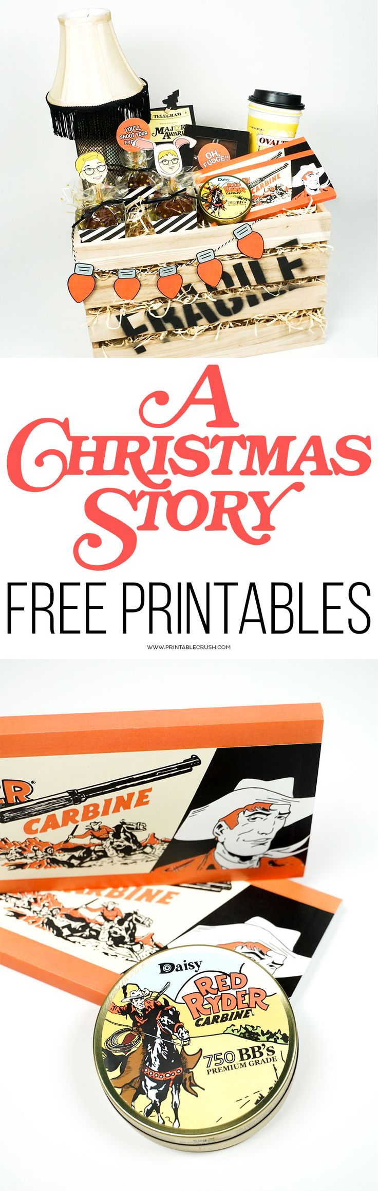 Download A Christmas Story FREE Printables to use at parties or for creative Christmas gifts. Includes 8 designs, with PDF and PNG versions for Cricut use!