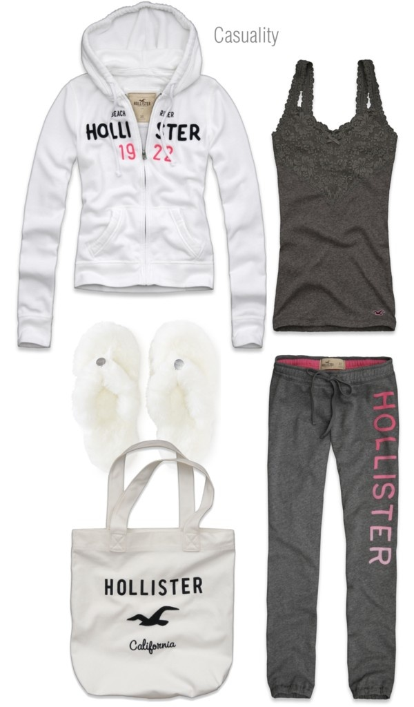 """Hollister Pajama Party"" by casuality on Polyvore Different shoes and I would wear this out!  But I do need those slippers!!!"