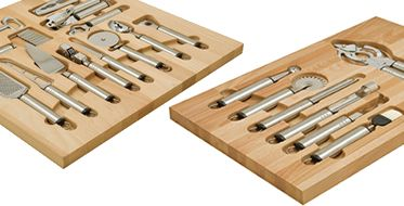 Hafele wood drawer organizer insert for utensils. Everything has its place.
