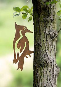 Gartendeko-Rost-Specht-Vogel-Rost-Gartenstecker-Edelrost-Rostoptik