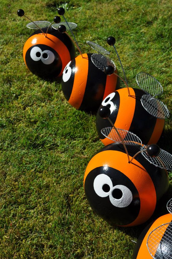 Orange Bumble Bee Bowling Ball Garden Art