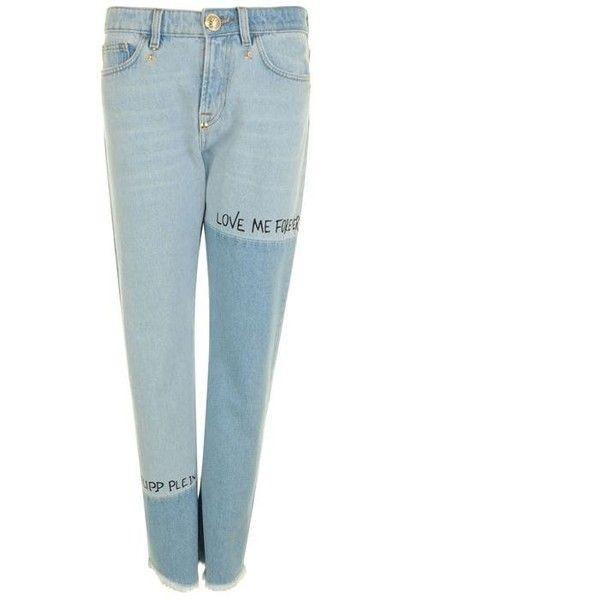 Philipp Plein Eustoma Jeans ($740) ❤ liked on Polyvore featuring jeans, blue, philipp plein, zipper fly jeans, zip fly jeans, zipper jeans and white jeans