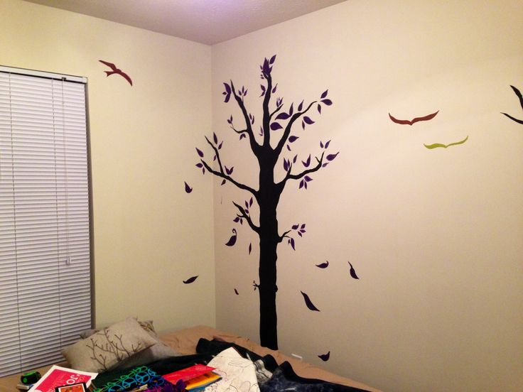 trendy my wall in living room sectioned off w ikea room divider freehand painted tree birds with. Black Bedroom Furniture Sets. Home Design Ideas