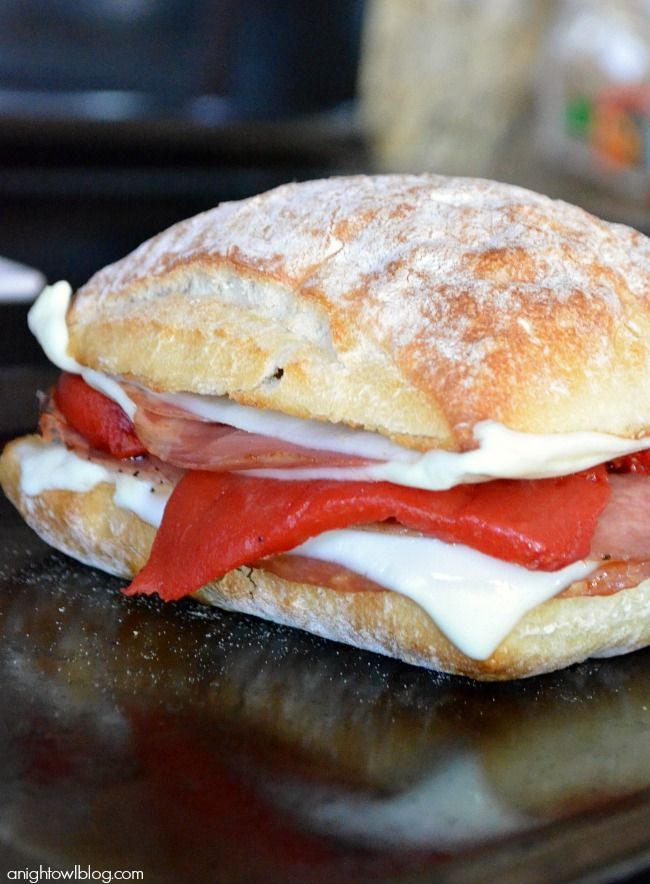 Craving Italian for lunch? Try this grilled cheese sandwich! Two kinds of salami, mozzarella cheese, and pickled red pepper sit inside a fresh ciabatta bun. Hungry yet? Make your own with this simple recipe!