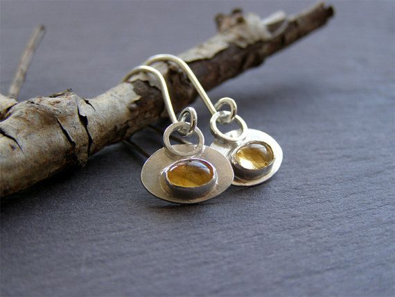 Sterling Silver Oval Dangle Earrings  Citrine Earrings  Oval
