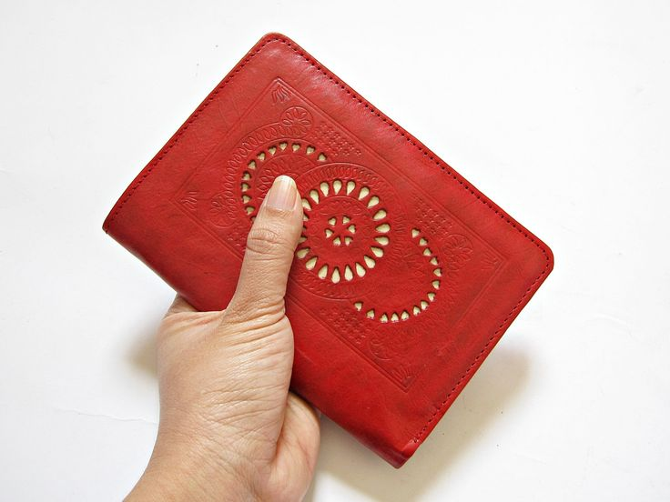 SAGO RED Leather Passport Cover Passport holder Passport Case Travel wallet womens wallet  leather boho wallet carved blue red by Astaboho on Etsy