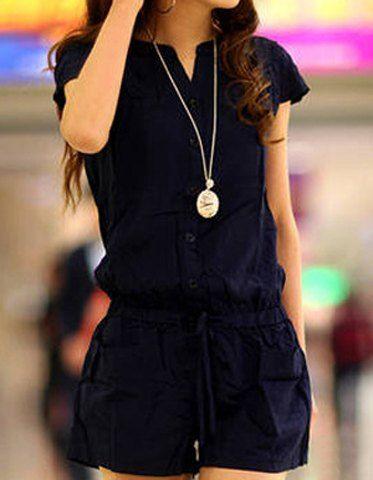 Casual V-Neck Short Sleeve Solid Color Pocket Design Romper For Women