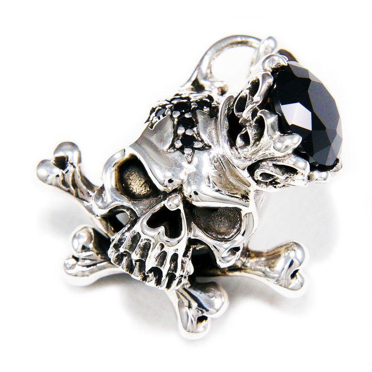 CROSS BONE CROWN SKULL BLACK Cz 925 STERLING SILVER BIKER GOTHIC PENDANT db-049 #Handmade #Pendant