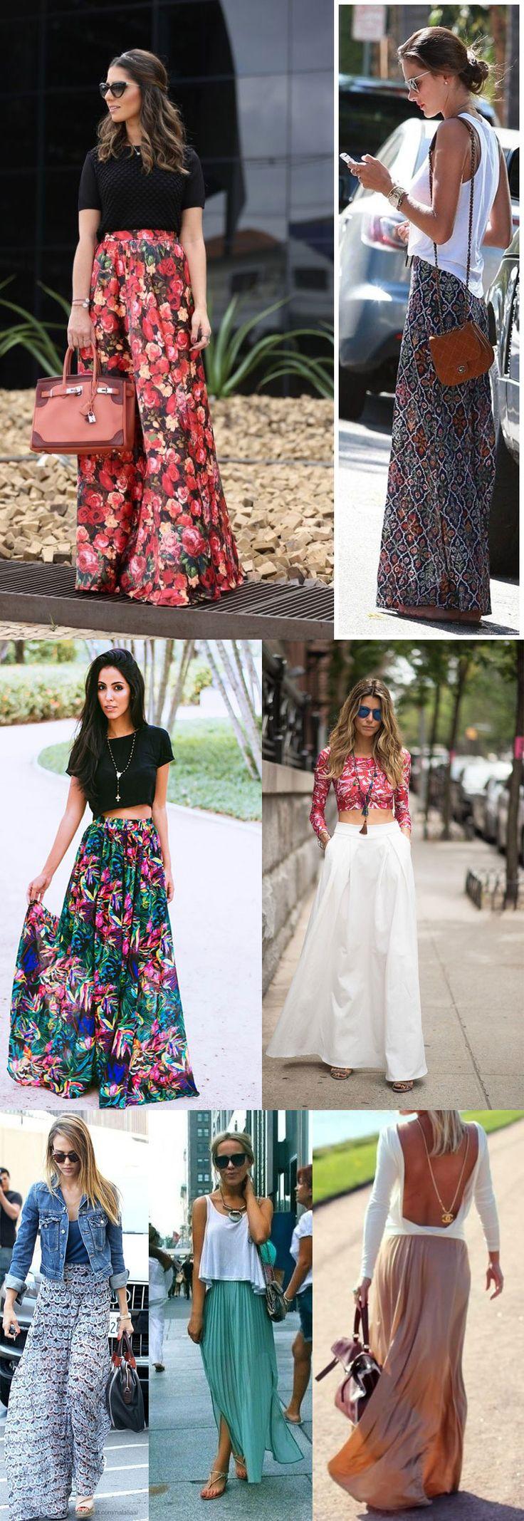 Várias combinações de saia longa