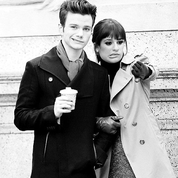 "Chris Colfer & Lea Michelle filming (""Glee"")"