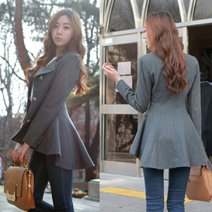 2013 Nuevas Mujeres de Corea del Dovetail señoras Delgadas abrigo de lana: Diseñador irregular larga Blazer cazadora de lana otoño prendas de vestir Exteriores $38.00