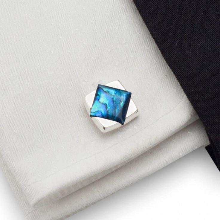 Niebieskie spinki do mankietów | srebro 925 | Muszla paua | ZD.25