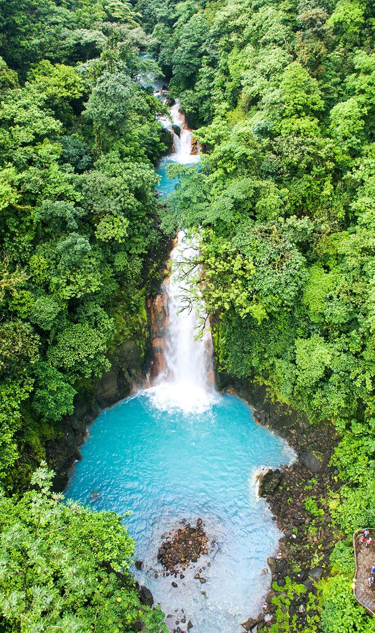 Rio Celeste waterfall from the air! Beautiful Costa Rica. Read our guide to visiting this magical place http://mytanfeet.com/activities/tips-visiting-rio-celeste/