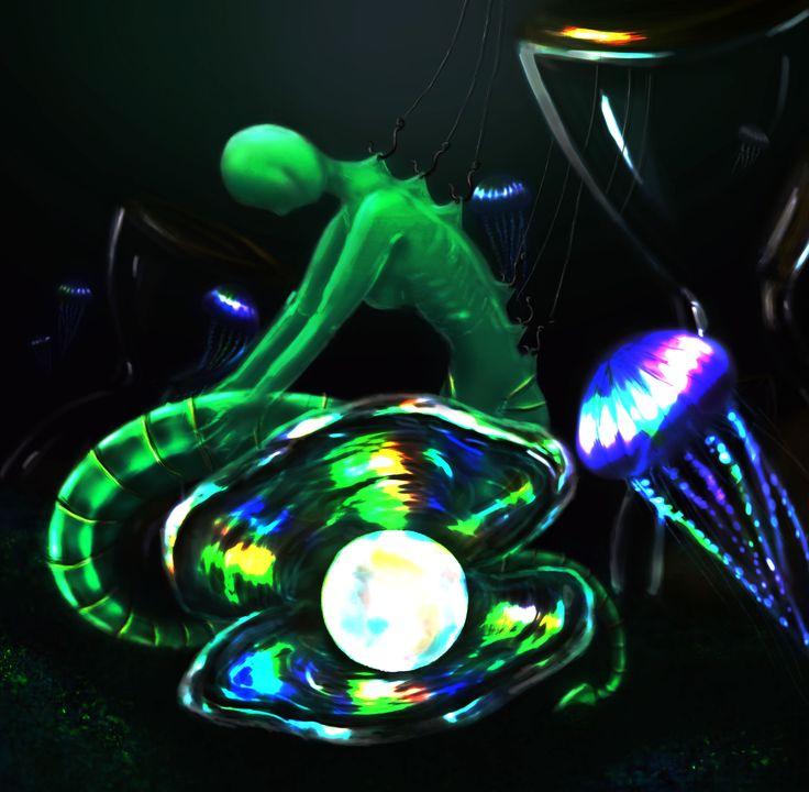 digital art in photoshop mermaid sea creature pearl shell