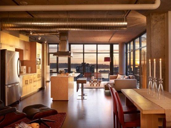 See myself here...: Home Interiors, Apartment Interiors Design, Living Spaces, Loft Apartment, Eating House, Eating Places, Modern Loft, Loft Spaces, Loft Design