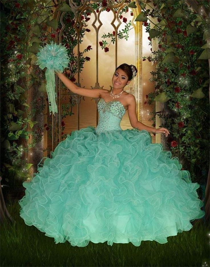 Princess Party Ball Gowns Green Quinceanera Dresses Sweetheart Beads Ruffles Sequins Pageant Dress Floor Length Ball Gowns Lace Up
