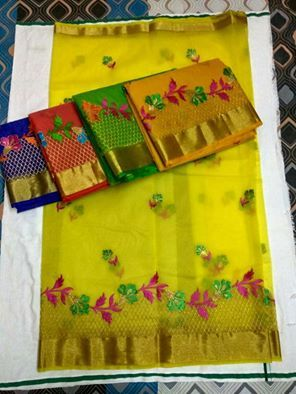 Latest Organza Sarees With All Over Embroidery work | Buy Online Organza Sarees…