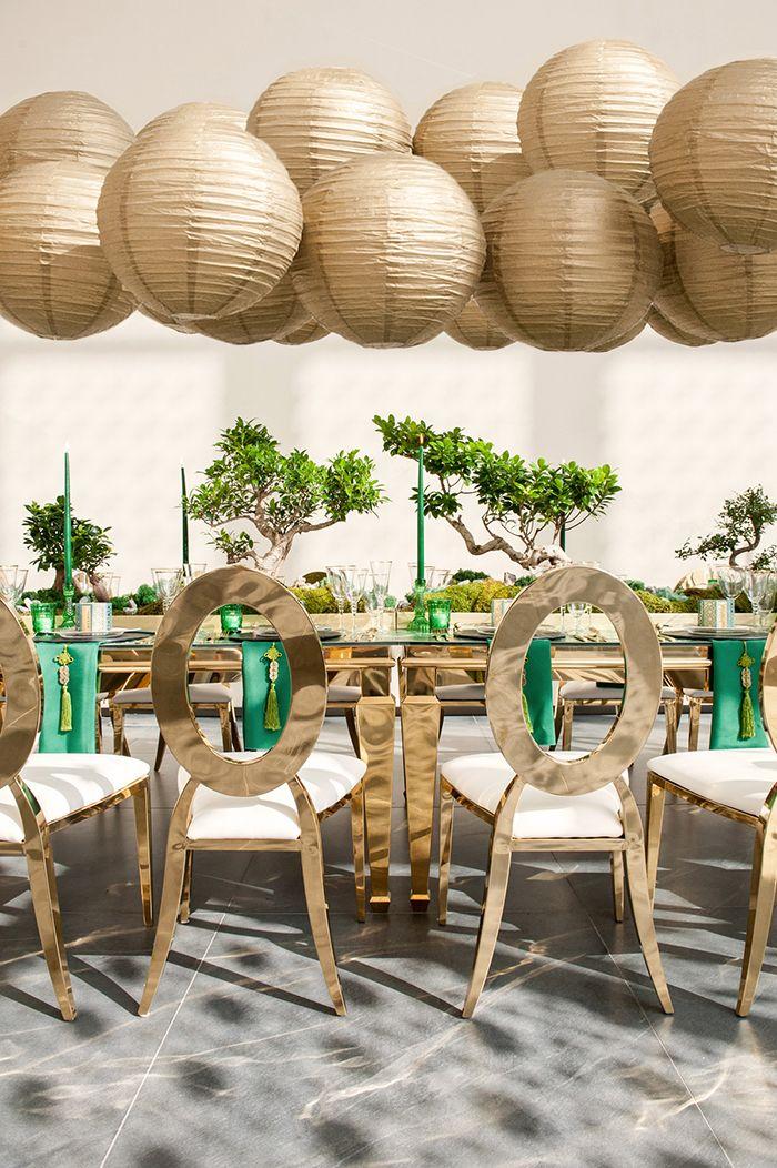 Gold Paper Lantern Chandelier for a Luxe Asian Wedding Reception  https://heyweddinglady.com/luxe-asian-wedding-inspiration-lunar-new-year/    #wedding#weddings#weddingideas#engaged#eventdesign#asianweddings#chineseweddings#weddinginspiration #weddingreception #reception #luxewedding #dreamwedding #greenweddings #green #paperlanterns