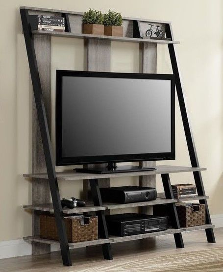 "4-Shelf Rustic Furniture 48"" LADDER TV Stand OAK Industrial Vintage Gaming Brown #Country"