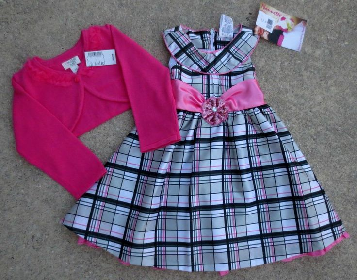 NWT Nannette Girl Pink & Black Checked Summer Dress & Pink Sweater Size 2T NEW Only $19.87