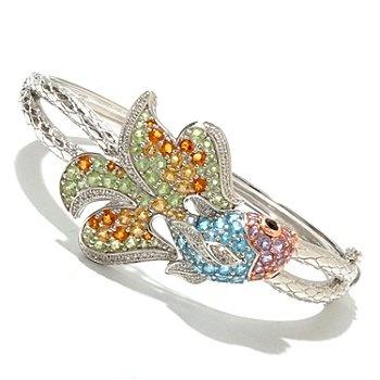 126-631 - Gem Treasures 4.73ctw Multi Gemstone Sea Life Bangle Bracelet