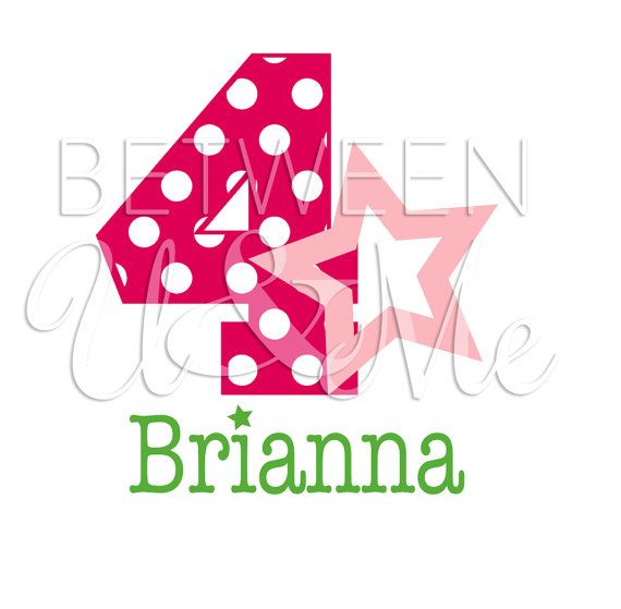 Personalized Star Diva Girl Number Age with Polka Dots and Stars Name / Birthday Party American Iron On Decal Vinyl for Shirt