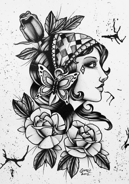 Tattoo flash with a gypsy woman, sunflower and bees.