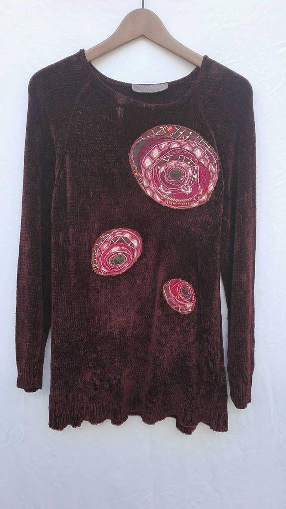 Guarda questo articolo nel mio negozio Etsy https://www.etsy.com/it/listing/540846931/maglia-donnaupcycled-clothing-maglione