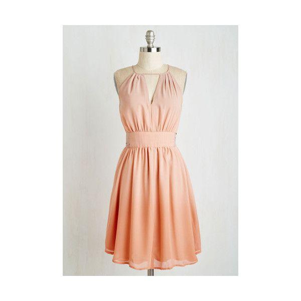 Pastel Sleeveless A-line (19.340 HUF) ❤ liked on Polyvore featuring dresses, apparel, orange, night out dresses, going out dresses, chiffon dress, orange dress and orange chiffon dress