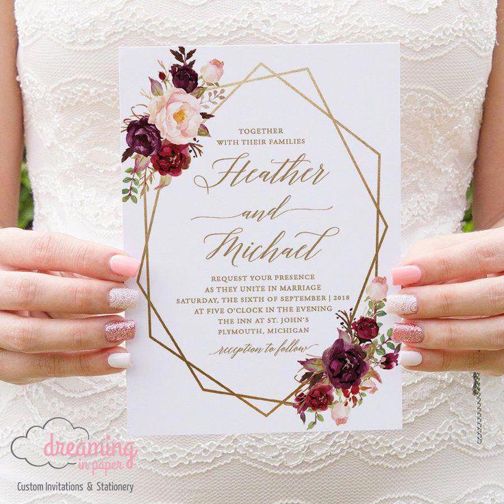 Conjunto de convite de casamento Boho Floral geométrico / geometria – Marsala Borgonha e flores cor de rosa com opção de cor Geometria   – wedding