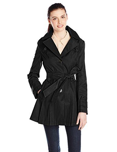 Via Spiga Women's Single-Breasted Belted Trench Coat with Hood (Black)