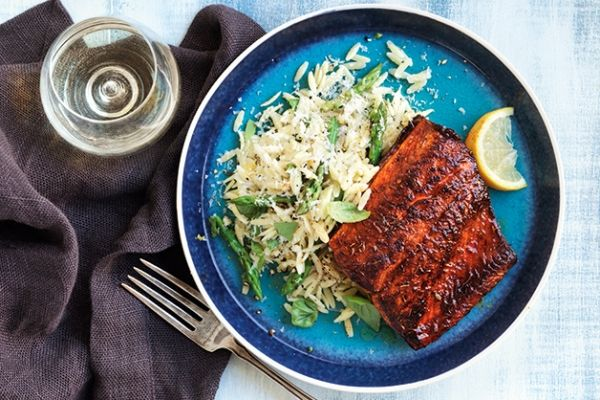 Our blackened Arctic char with asparagus orzo has a milder flavour than salmon, and it's a more sustainable choice. Photo by James Tse.