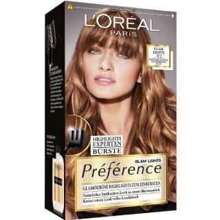 L'Oréal Paris Préférence Glam Highights Nr 3: Creëer nu zelf natuurlijke highlights in je haar! De speciaal ontworpen borstel helpt je om extra fijne 'glamorous highlights' te zetten. Het maakt prachtige highlights tot in de punten via subtiele nuances. Na het kleuren zorgt de nutriceramide voor een schitterende glans. Nr 3: voor donkerblond tot bruin haar